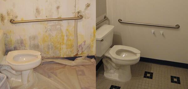 удаление плесени в ванной комнате